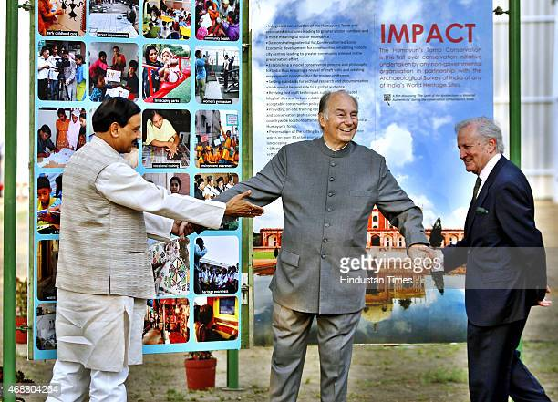 Union Minister of State for Culture Tourism Mahesh Sharma and Prince Aga Khan visiting an exhibition during a function to unveil the foundation stone...