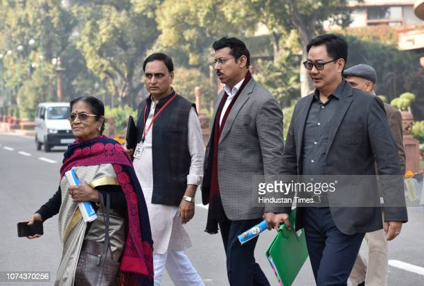 Union Minister of State for Home Affairs Kiren Rijiju and Union Sports Minister Rajyavardhan Singh Rathore during the Winter Session of Parliament on...