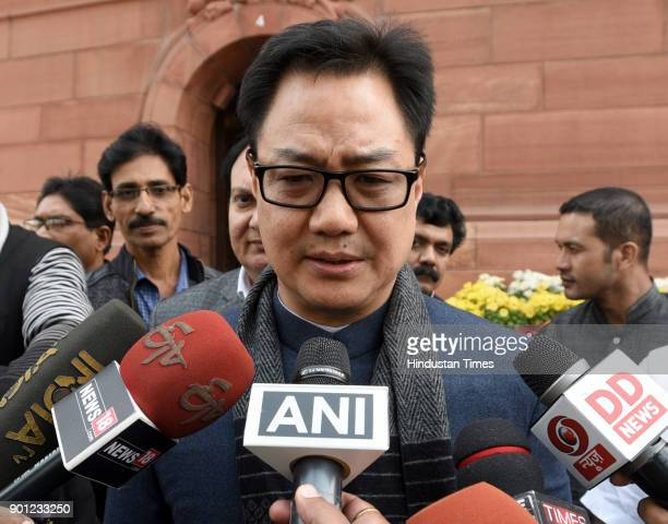 Union Minister of State for Home Affairs Kiren Rijiju during the Parliament Winter Session on January 4 2018 in New Delhi India The government...