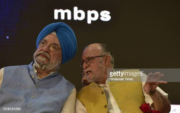 Union minister of state for housing and urban affairs Hardeep Singh Puri with Lieutenant Governor of Delhi Anil Baijal during the inauguration of...