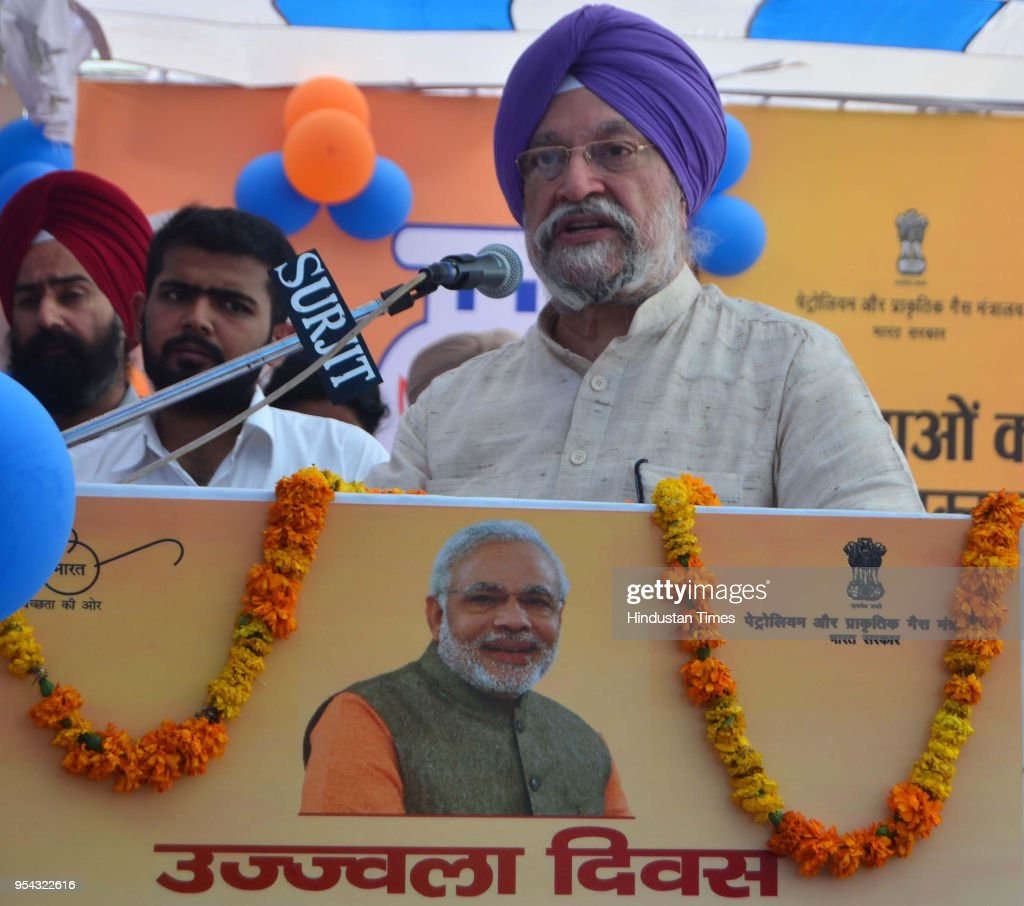 Union Minister Of State For Housing And Urban Affairs Hardeep Singh Puri addressing during gas connection distribution function under the Pradhan...