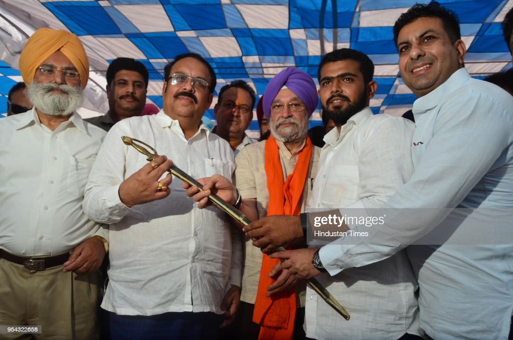 Union Minister Of State For Housing And Urban Affairs Hardeep Singh Puri being honoured by party workers in presence of BJP Punjab State president...