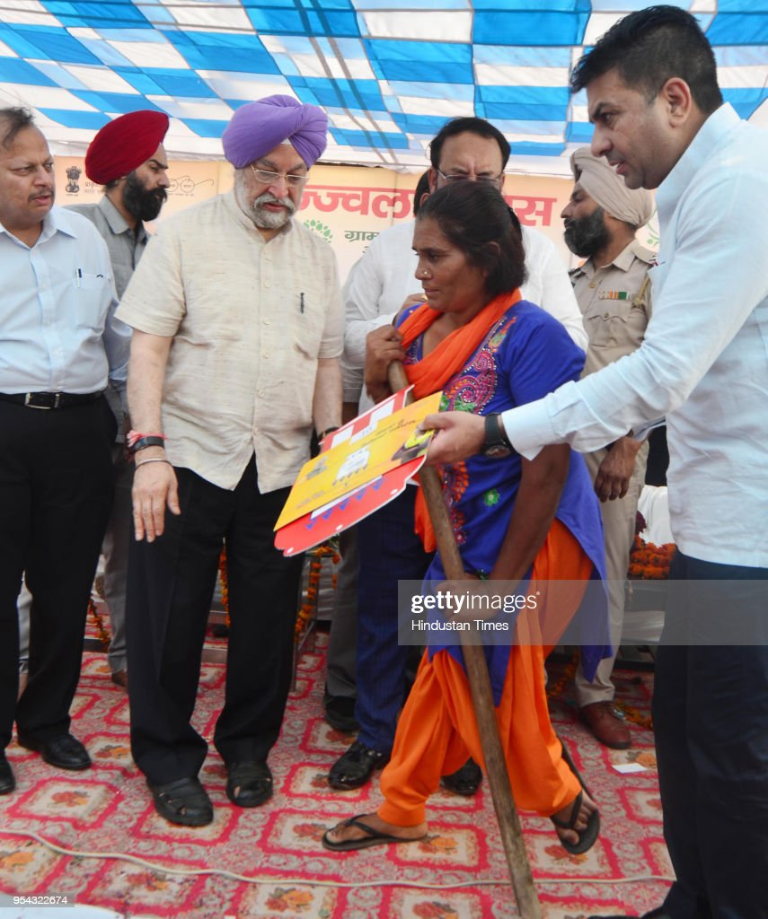 Union Minister Of State For Housing And Urban Affairs Hardeep Singh Puri BJP Punjab State president Shwait Malik and BJP district president Rajesh...