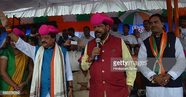 Union Minister of State for Social Justice and Empowerment Ramdas Athawale addressing a gathering of hundreds of people before flagging off Tiranga...