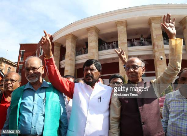 Union Minister of State for Social Justice and Empowerment Ramdas Athawale and others showing victory as they celebrating BJP's success in Gujarat...