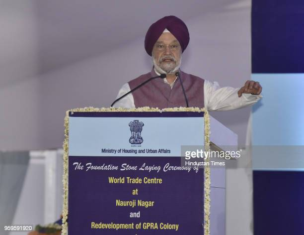 Union Minister of State of Housing and Urban Affairs Hardeep Singh Puri speaks during the foundation stone laying ceremony of World Trade Centre at...