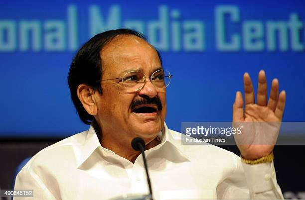 Union Minister of Urban Development Housing and Urban Poverty Alleviation and Parliamentary Affairs Venkaiah Naidu addresses media on completing one...