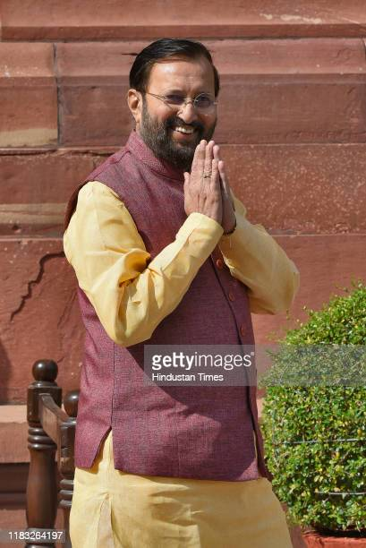 Union Minister Prakash Javadekar during the first day of the winter session of Parliament on November 18 2019 in New Delhi India The 250th Rajya...