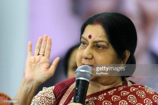 Union Minister Sushma Swaraj addressing ' Vijay Sankalp Sanwad' ahead the Lok Sabha Polls in JaipurRajasthanIndia on May 3 2019