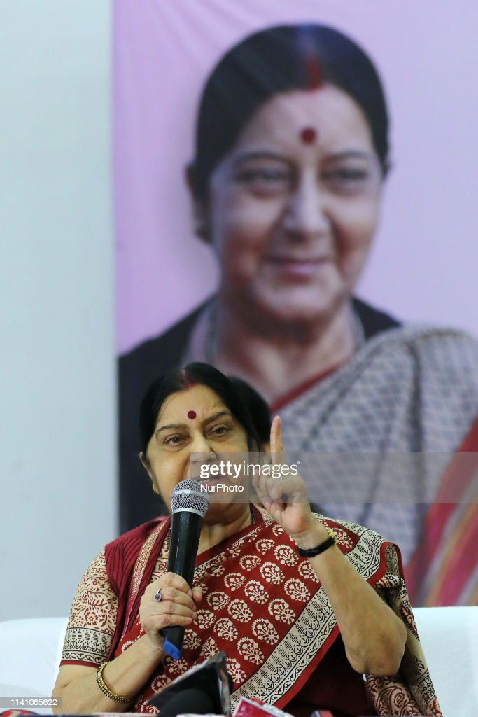 Union Minister Sushma Swaraj In Jaipur : News Photo