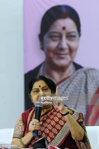 Union Minister Sushma Swaraj addressing ' Vijay Sankalp Sanwad' ahead the Lok Sabha Polls in JaipurRajasthanIndia on May 3 2019