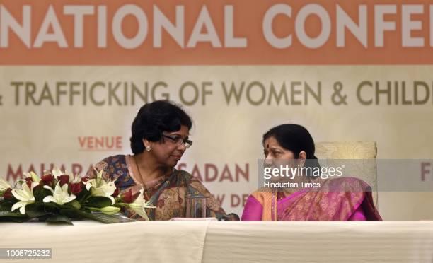 Union Minister Sushma Swaraj and Ms Vijaya Rahatkar President Maharashtra State Commission for Women during the National Conference on NRI Marriages...