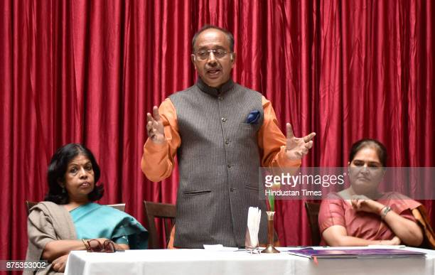 Union Minister Vijay Goel during the Press conference at Haveli Dharampura as Haveli Dharampura wins the 2017 UNESCO AsiaPacific Awards for Cultural...