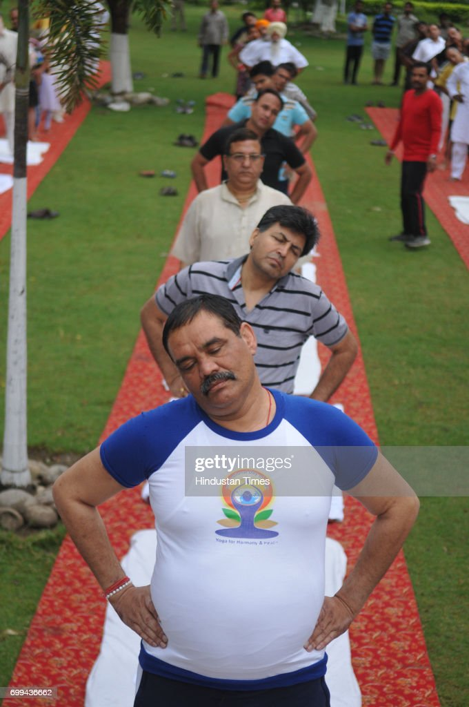 Union Minister Vijay Sampla participating in Yoga session on International Yoga Day on June 21 2017 in Jalandhar India