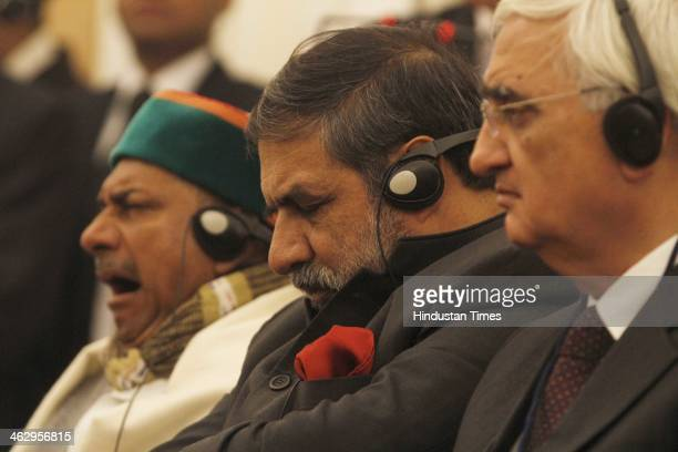 Union Ministers AK Antony Anand Sharma and Salman Khurshid at the joint statement release by Prime Minister Manmohan Singh and South Korean President...