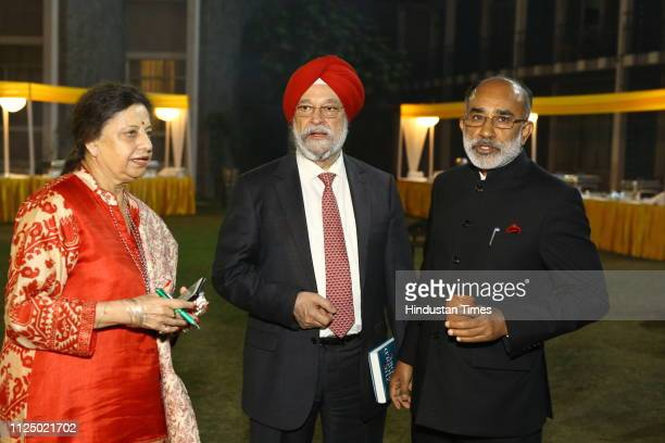 Union ministers Hardeep Singh Puri and Alphons KJ at the launch of Journalist Kumkum Chadha's book The Marigold Story Indira Gandhi and Others at...