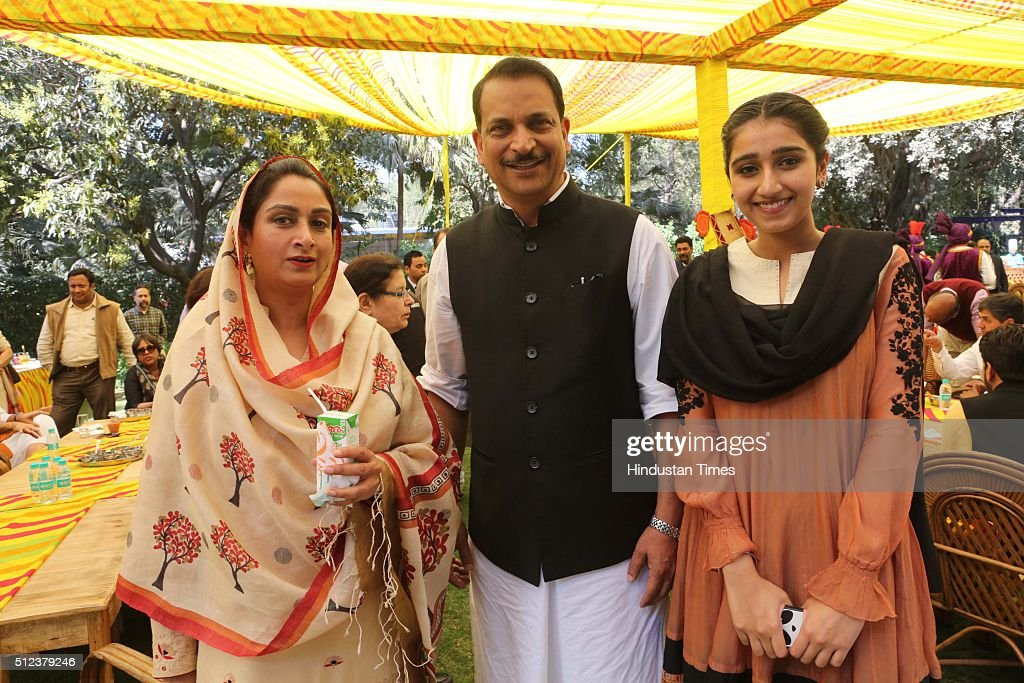 Union Ministers Harsimrat Kaur Badal and Rajiv Pratap Rudy during a lunch party for the political and media fraternity hosted by Union Minister of...