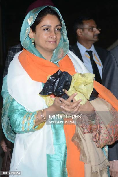 Union Ministers Harsimrat Kaur Badal arrives after attending the groundbreaking ceremony for the Kartarpur Corridor at the India Pakistan Wagah Post...