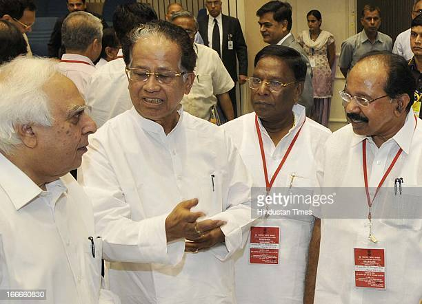 Union Ministers Kapil Sibal Veerappa Moily and V Narayanasamy with Assam CM Tarun Gogoi at the inaugural session of Conference of Chief Ministers on...