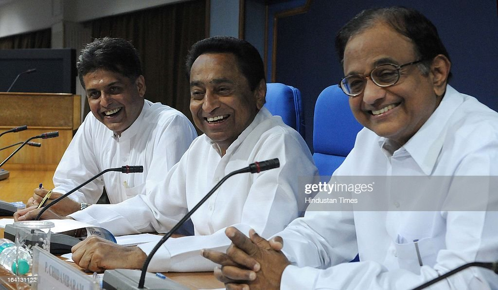 Union Ministers P Chidambaram, Kamal Nath and Manish Tewari addressing a press conference on withdrawal of support by DMK from UPA government over Sri Lanka issue on March 20, 2013 in New Delhi, India. The government today said that it will move amendments to the resolution on Sri Lanka at the UNHRC by sending a resolute message and denied New Delhi diluted the US-sponsored motion denouncing Sri Lanka over alleged rights abuses.