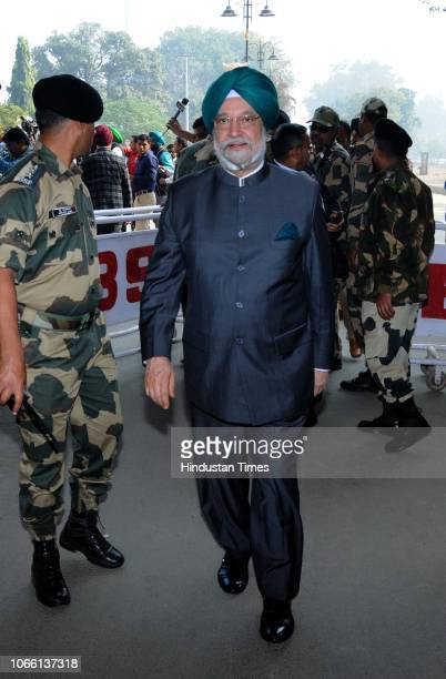 Union MoS in the Ministry of Housing and Urban Affairs Hardeep Singh Puri before leaving for Pakistan to attend the groundbreaking ceremony of Dera...