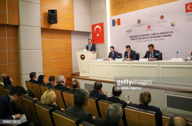 Union of Chambers and Commodity Exchanges of Turkey President M Rifat Hisarciklioglu makes a speech as he attends the TurkeyMoldova Economic Forum...