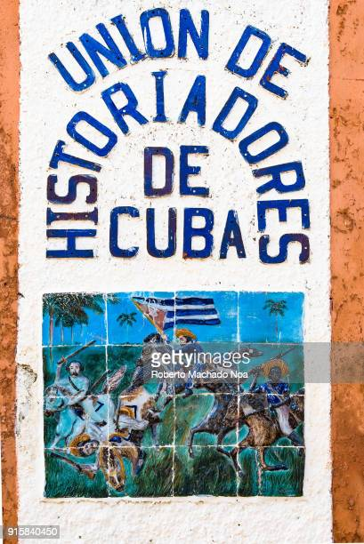 Union of Cuban Historians sign made with colorful tiles