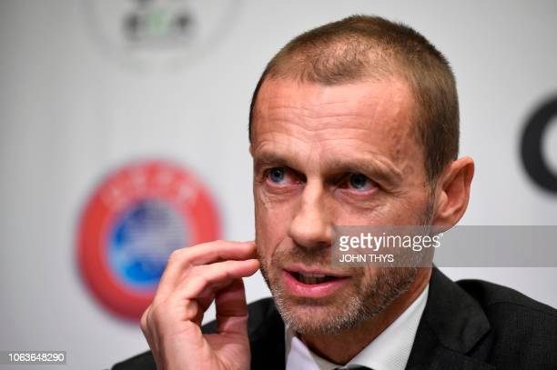 Union of European Football Associations President Aleksander Ceferin gives a joint press conference with chairman of the European Club Association on...