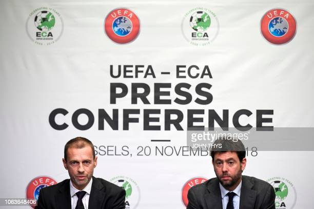 Union of European Football Associations President Aleksander Ceferin gives a joint press conference with chairman of the European Club Association...