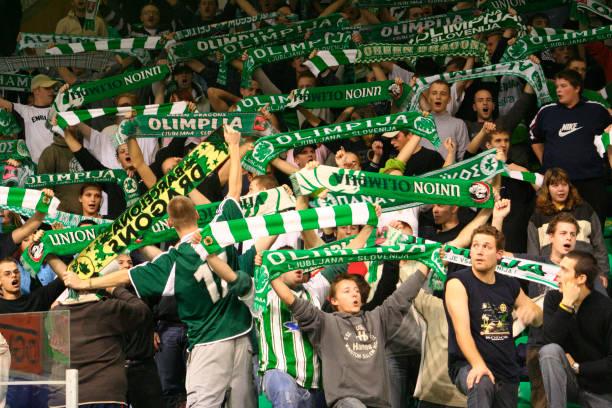 Union Olimpija basketball fans at Hala Tivoli, Ljubljana, Slovenia