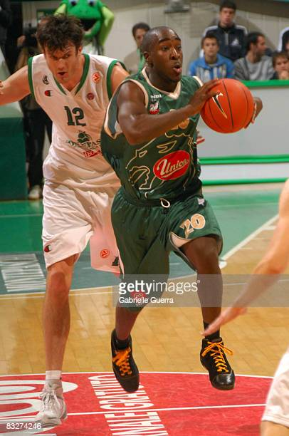 Union Olimpija Ljubljana number 20 Maurice Bailey in action during the Euroleague Basketball Game 1 between Montepaschi Siena and Union Olimpija...