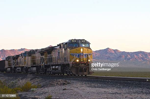 Union Pacific freight train crossing the Mohave desert eastbound near the California / Nevada state line