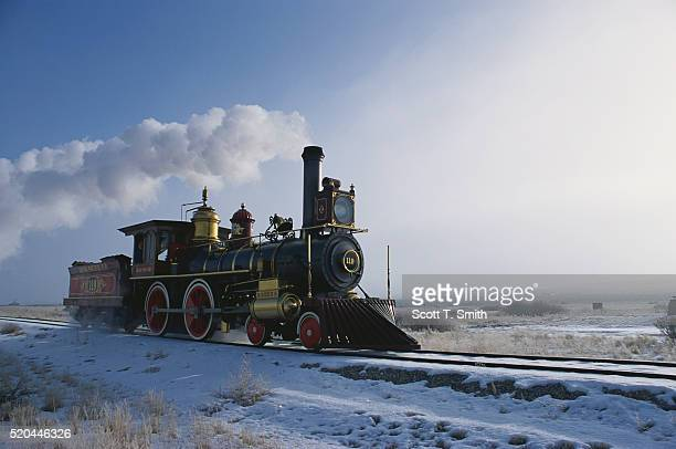 union pacific locomotive 119 moving down the tracks - steam train stock pictures, royalty-free photos & images
