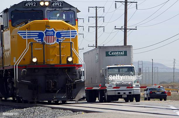 A Union Pacific locomotive crosses Highway 118 in Somis Metrolink as part of the SoCal Rail Safety Team held the first of two Officer On A Train...