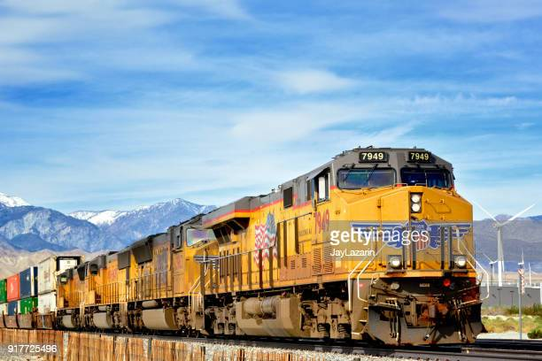 Union Pacific Railroad Locomotive pulling Freight train -Palm Springs, California