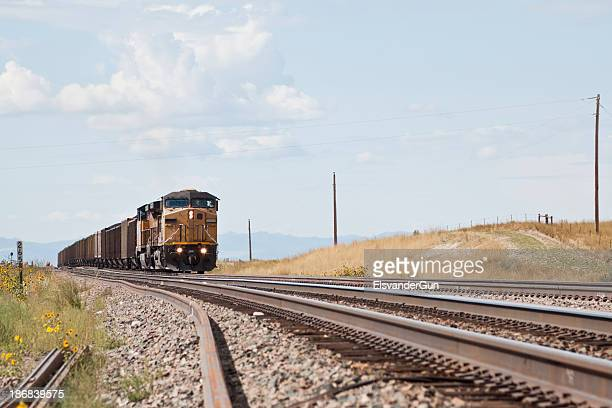 union pacific railroad train approaching - approaching stock pictures, royalty-free photos & images