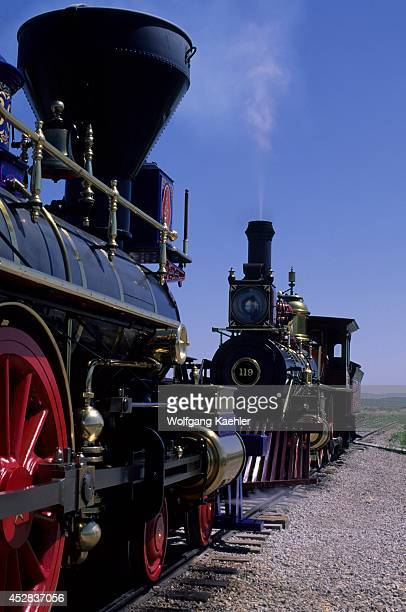 Union Pacific steam engine No 119 and the Jupiter made history to meet at Promontory Summit Utah during the Golden Spike ceremony commemorating the...