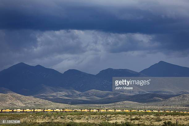 Union Pacific train engines stretch for four miles in the 'Boneyard' on September 29 2016 near Benson Arizona With train usage falling drastically in...