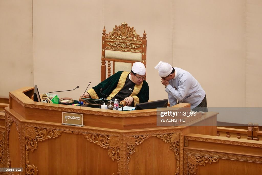 Union parliament speaker T Khun Myat attends a session at the ...
