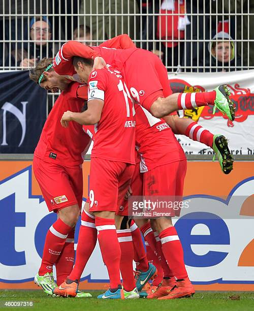 Union players celebrate after scoring the 2:0 during the game between Union Berlin and FSV Frankfurt on december 7, 2014 im Stadion An the Alten...