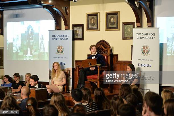 Union President Oliver Mosley during a debate at The Cambridge Union on October 15 2015 in Cambridge United Kingdom The Cambridge Union were dabting...