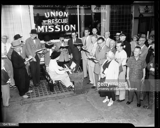 Union Rescue Mission 7 June 1954 Henry CarmichaelLeroy TaylorReverend Urban HallHarold WilsonTim DaleyMayor Norris PoulsonRoger Arnebergh Boyd...