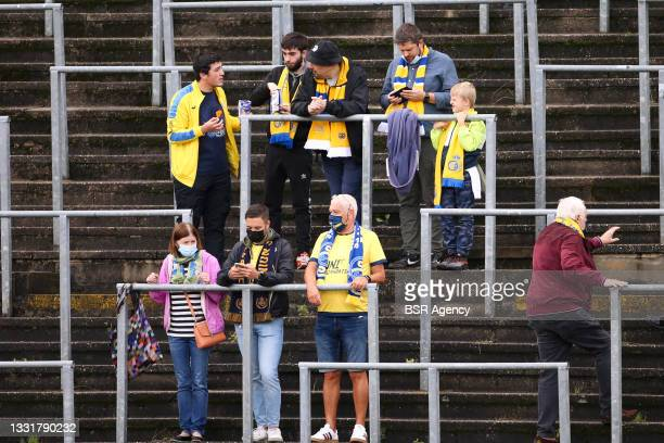 Union Saint Gilloise supporters during the Jupiler Pro League match between Union Saint Gilloise and Club Brugge at Joseph Marien Stadion on August...