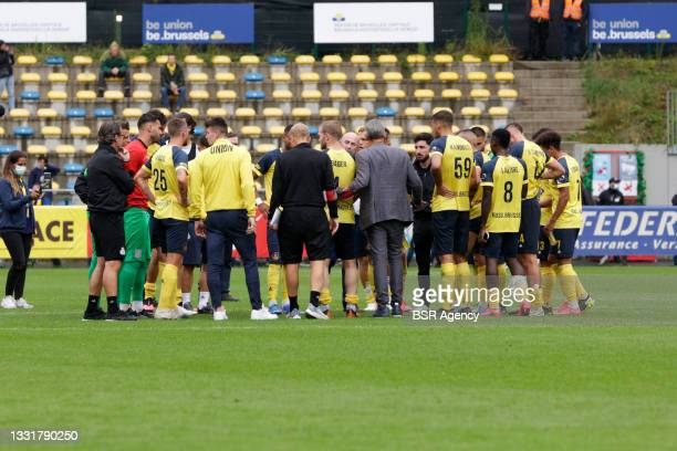 Union Saint Gilloise team during the Jupiler Pro League match between Union Saint Gilloise and Club Brugge at Joseph Marien Stadion on August 1, 2021...