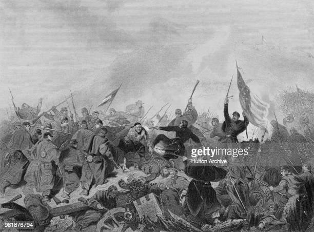 Union soldiers from the Army of the Tennessee commanded by Brigadier General Ulysses S Grant charge the Confederate positions at the Battle of Fort...