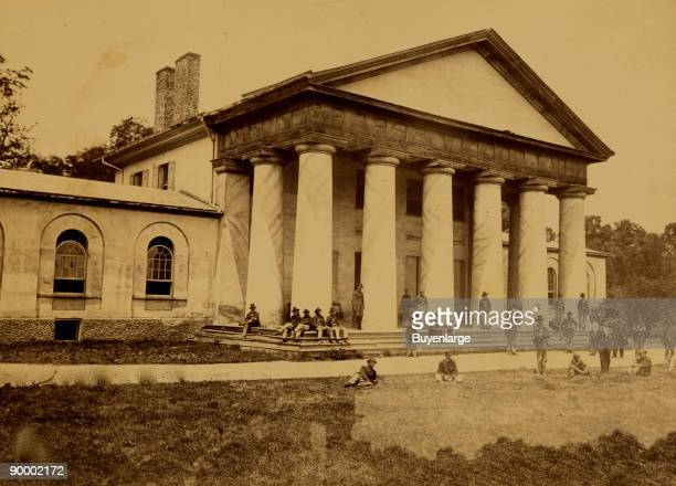 Union soldiers including African Americans in front of Arlington House Robert E Lee's former home The home was taken over by Union forces in 1864 and...