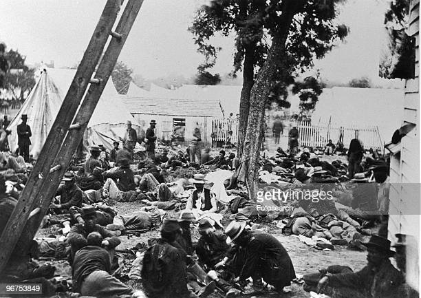 Union soldiers lay wounded awaiting treatment at a Union field hospital at Savage Station Virginia USA circa 1861
