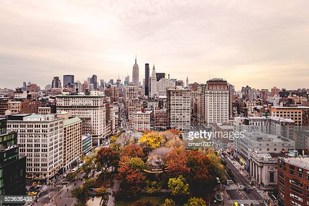 Union Square and New York City Shot From Above