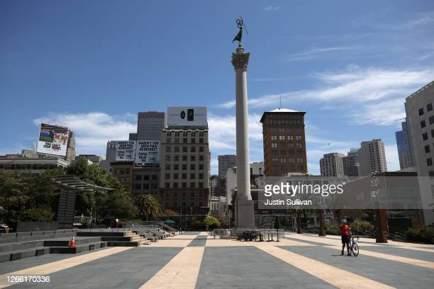 Union Square is nearly empty on August 13, 2020 in San Francisco, California. San Francisco tourism is down over 50 percent since the coronavirus...