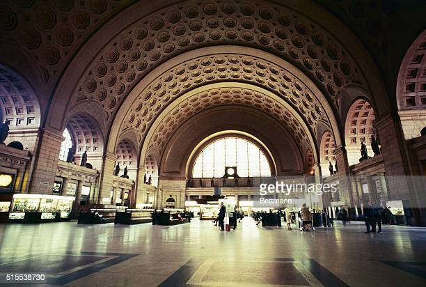 Union Station. East of North Capitol Street, facing Massachusetts Avenue, North East. Designed by D. H. Burnham and completed in 1907. Also interior...